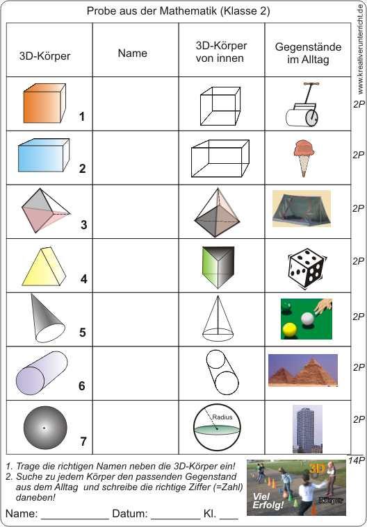 Einführung in 3D-Körper Klasse 2