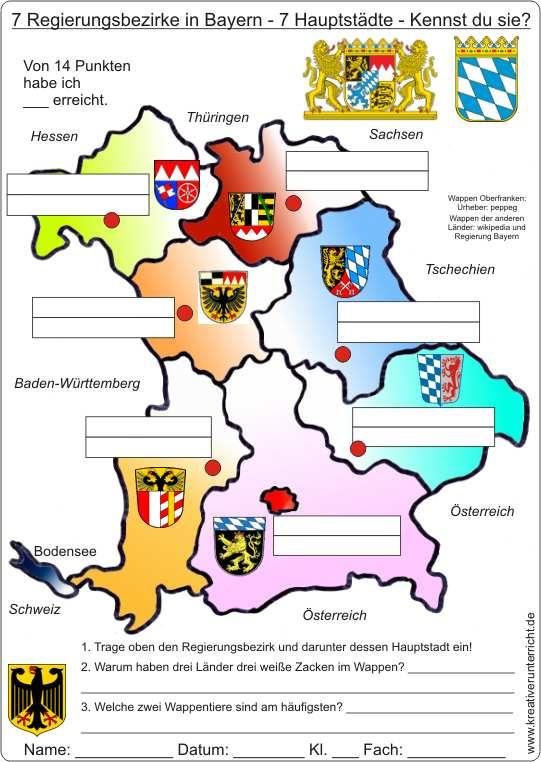 Bundesländer Karte Ohne Namen.7 Regierungsbezirke In Bayern 7 Hauptstädte