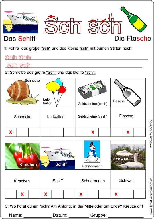 Arbeitsblätter Buchstabe Sch : Buchstabe sch kreativ deutsch lernen