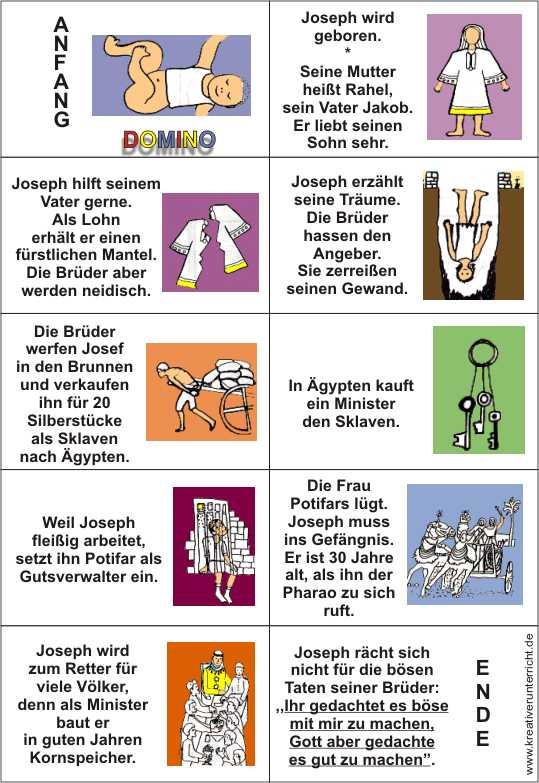 DOMINO-Gottes Weg mit Josef Arbeitsblatt mit Lösung
