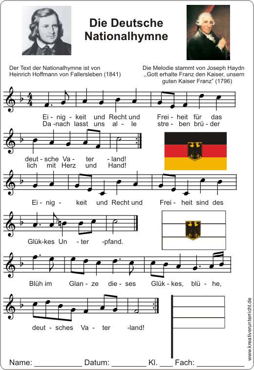 Deutsche Nationalhymne in F Dur Text und Noten