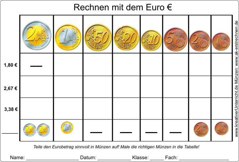 Arbeitsblatt Mathe Rechnen Mit Geld : Eurobeträge in münzen aufteilen
