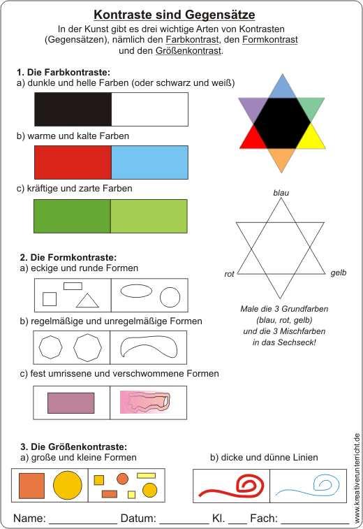 farbenlehre kontraste sind gegens tze arbeitsblatt mit l sung. Black Bedroom Furniture Sets. Home Design Ideas