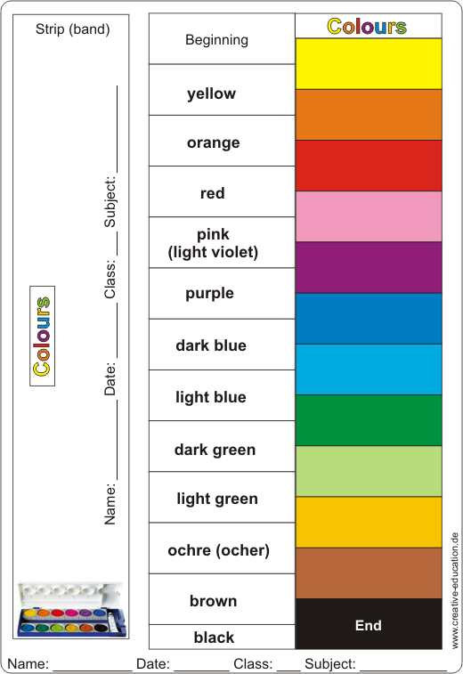 Learnpusher Colours handicrafts Lernschieber Farben basteln