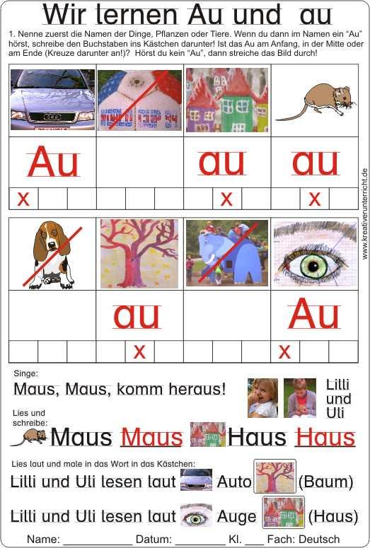 Arbeitsblatt Buchstaben Lernen : Wir lernen den buchstaben au lesen und schreiben