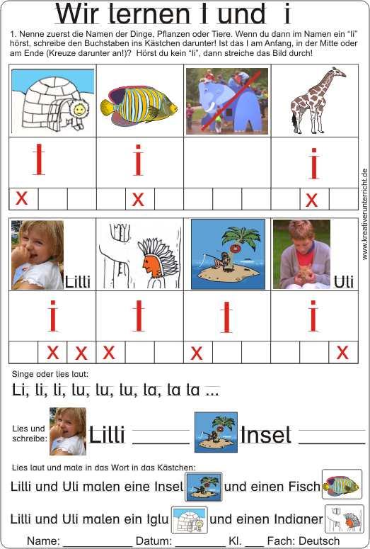 Arbeitsblatt Buchstaben Lernen : Wir lernen den buchstaben i und lesen schreiben