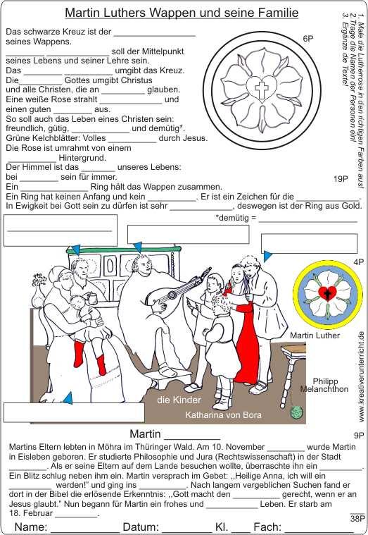 Martin Luthers Wappen und seine Familie