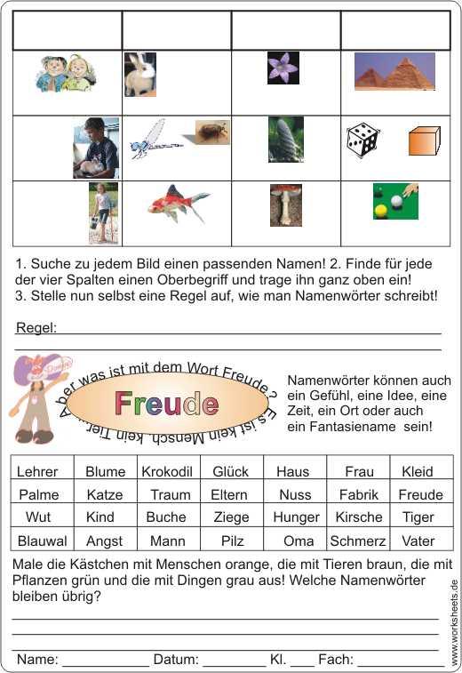 Mensch-Tier-Pflanze-Ding- Namenwörter groß