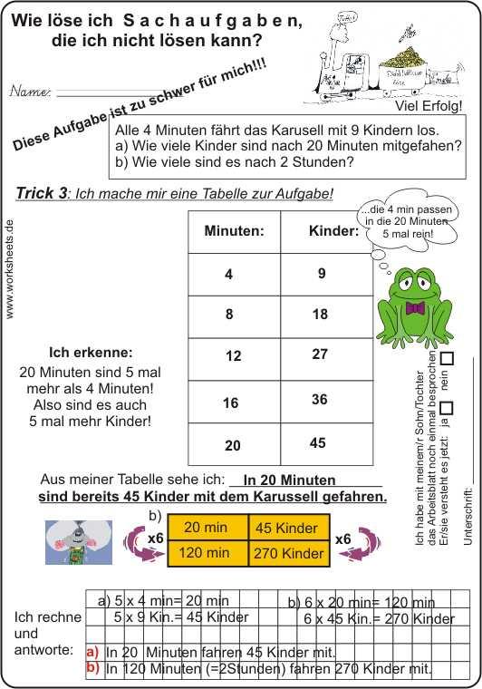 sachaufgaben l246sen tabelle