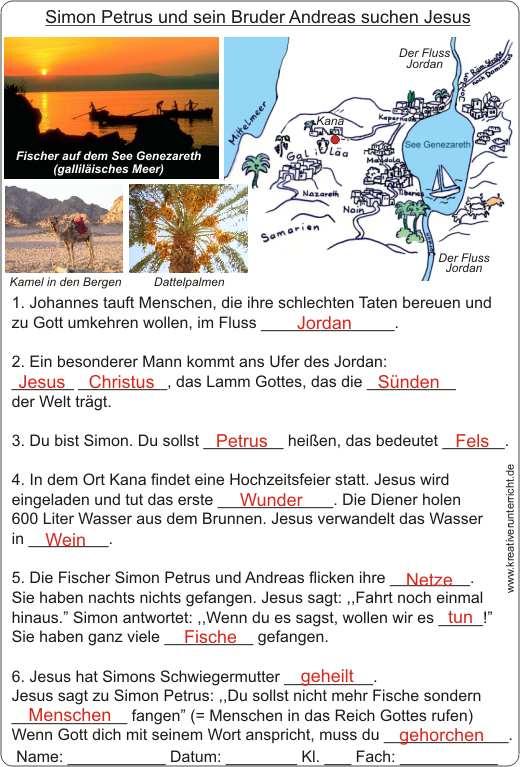 Simon Petrus und Andreas suchen Jesus