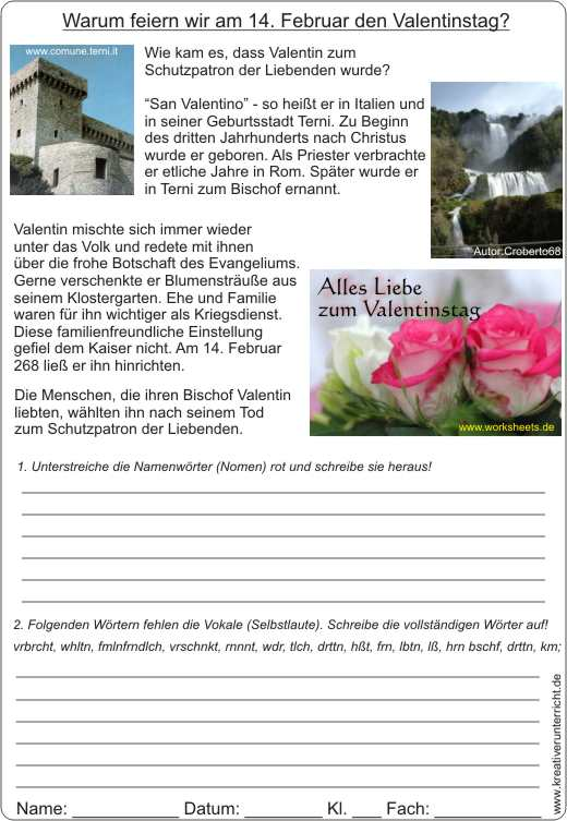 Valentinstag Geschichte Karte AB.